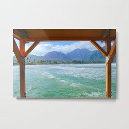 ocean view with mountain and blue cloudy sky background at Kauai, Hawaii, USA Metal Print
