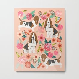 Basset Hound florals cute pink pastel gender neutral dog owner breed must have gifts dog art pets Metal Print