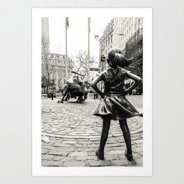 Fearless Girl & Bull NYC Art Print