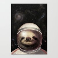 sloth Canvas Prints featuring Space Sloth  by Eric Fan