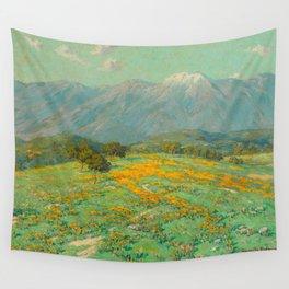 Granville Redmond snow cap spring landscape painting orange flowers green field Wall Tapestry