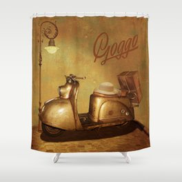 Goggo scooter from the 50s Shower Curtain
