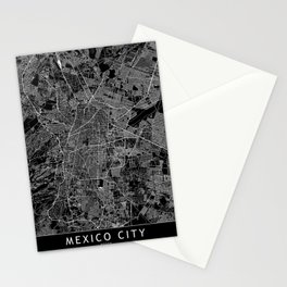 Mexico City Black Map Stationery Cards