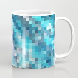 geometric square pixel pattern abstract in blue Coffee Mug