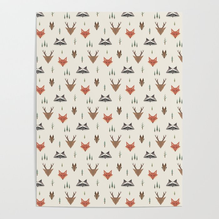 Minimalist Forest Animals Poster