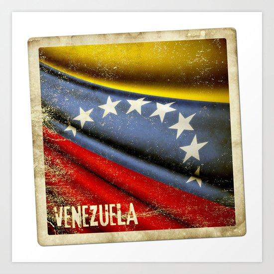 Grunge sticker of Venezuela flag Art Print