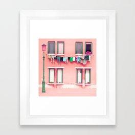 Laundry Venice Italy Travel Photography Framed Art Print