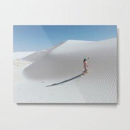 Kid in White Sand Dunes Metal Print