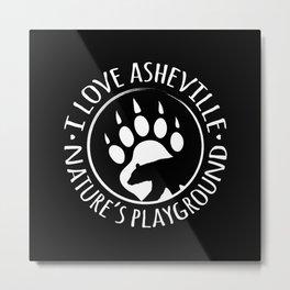 I Love Asheville - Black Bear - AVL 15 Black Metal Print
