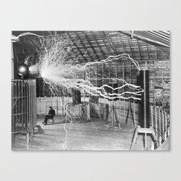 Nikola Tesla Vintage Photograph Double Exposure Electricity, 1889 Canvas Print