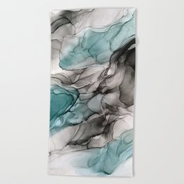 Smoky Grays and Green Abstract Flow Beach Towel