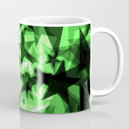 Dark green space stars with glow in the distance from the foil in perspective. Coffee Mug