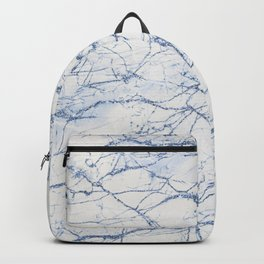 Chic ivory white sky blue glitter marble texture Backpack