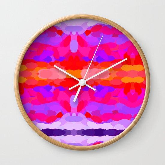 Purple, pink and orange tie dye Wall Clock