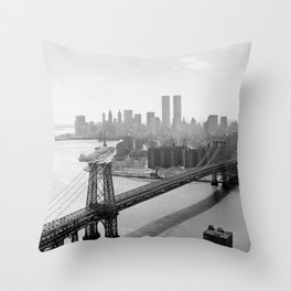 Williamsburg Bridge, East River at South Sixth St. & Twin Towers, New York City skyline photograph Throw Pillow