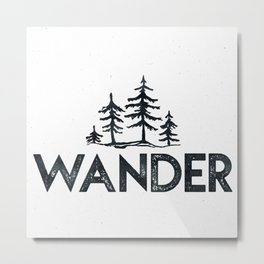 WANDER Forest Trees Black and White Metal Print