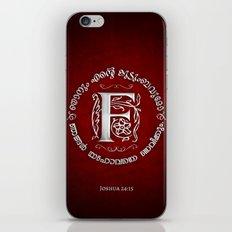 Joshua 24:15 - (Silver on Red) Monogram F iPhone & iPod Skin