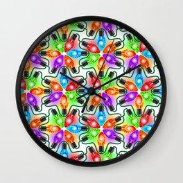 Tie Dye Holiday Lights Wall Clock