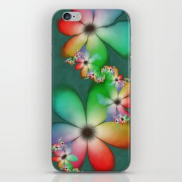 Rainbow Flowers Keeping Cool Against a Mint Wall iPhone Skin