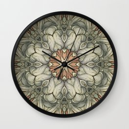 abstract flowers hand drawn and  kaleidoscope mandala Wall Clock