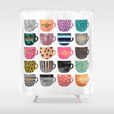 Pretty Coffee Cups Shower Curtain