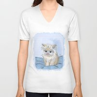 kitten V-neck T-shirts featuring Kitten by Michelle Behar
