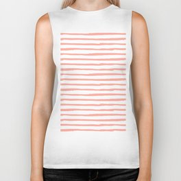 Pink Drawn Stripes Biker Tank