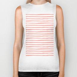 Pink Drawn Stripes Biker Tank