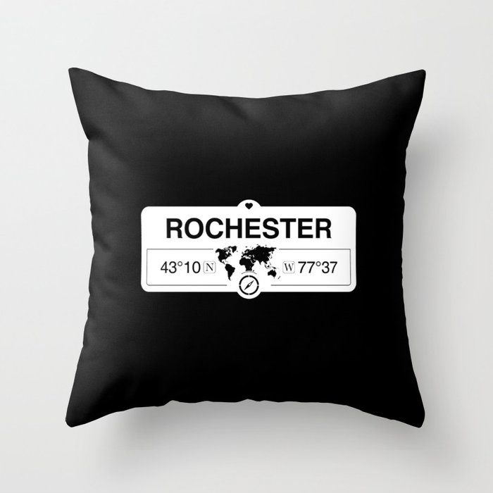 Rochester New York Map GPS Coordinates Artwork with Compass Throw Pillow
