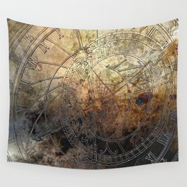 Ancient Astrology Clock Wall Tapestry