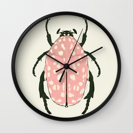 pink beetle insect Wall Clock