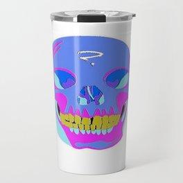 Neon Pixel Psychaedelic Halloween Skull  Travel Mug
