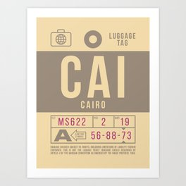 Baggage Tag B - CAI Cairo Egypt Art Print