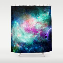 Teal Galaxy Shower Curtain