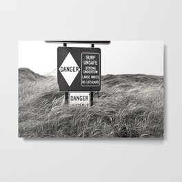 """Surf Unsafe, Strong Undertow"" Beach Access Sign Washington Coast, Pacific Northwest Metal Print"