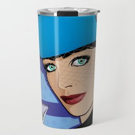 Beautiful Pop Art Girl with Martini and Stewardess Hat Travel Mug