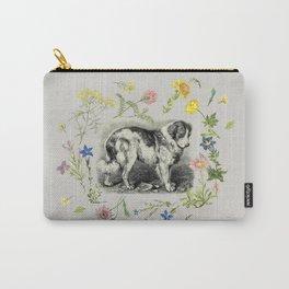 Saint Bernard Dog & Alpine Wildflowers - Gray  Carry-All Pouch