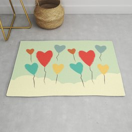 Heart Balloons above the Clouds Rug