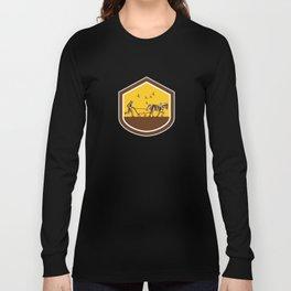 Farmer and Horse Plowing Field Shield Retro Long Sleeve T-shirt