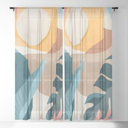 Abstract Art Tropical Leaf 10 Sheer Curtain