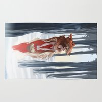 red riding hood Area & Throw Rugs featuring The red riding hood by LaurenceBaldetti