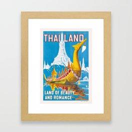 1950 Thailand Royal Barge Travel Poster Framed Art Print