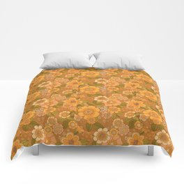 Flower power soft Apricot Comforters