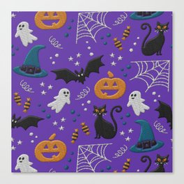 Halloween realistic embroidery print on purple Canvas Print