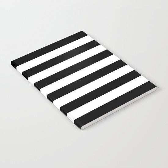 Stripe Black & White Horizontal Notebook
