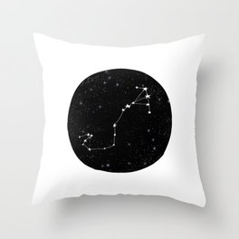 Scorpio black and white star chart zodiac star signs minimal decor Throw Pillow