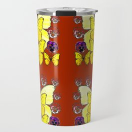 RUST COLORED YELLOW  BUTTERFLY & PANSY FLORAL Travel Mug