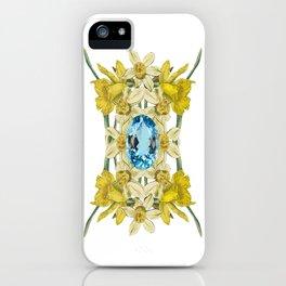 Birth Stone & Flower Print/MARCH iPhone Case