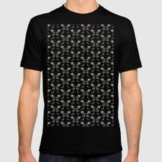 Butterfly pattern Mens Fitted Tee MEDIUM Black