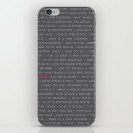 Web Design Words Poster iPhone Skin